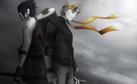 火影忍者鸣人和佐助背靠背超清壁纸大图