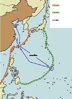 北起日本列岛,经小笠原群岛,硫黄群岛,马里亚纳群岛,雅浦群岛,帛琉