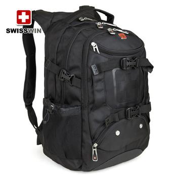 swisswin瑞士军刀双肩包黑色运动背包男士旅行包电脑
