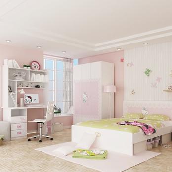 【hello kitty】kt花之心4/5件套儿童家具床/床头柜