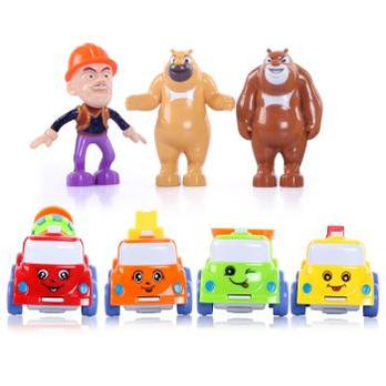 熊大熊二光头强儿童玩具车套装