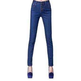 欧美修身中腰排扣牛仔裤