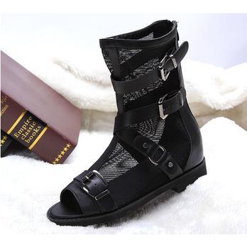踏莎13春季真皮平底网靴短靴黑色时尚镂空性感鱼嘴ts