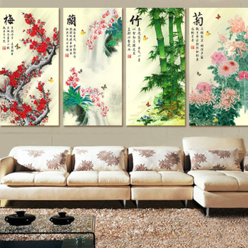 丝线书房3d十字绣新款客厅系列大幅精准印花梅兰竹菊