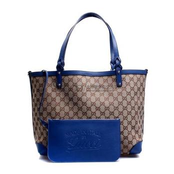 卡其色蓝色配皮购物袋