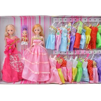 布娃娃芭芘公主真眼益智串珠套装送支架女孩玩具礼物
