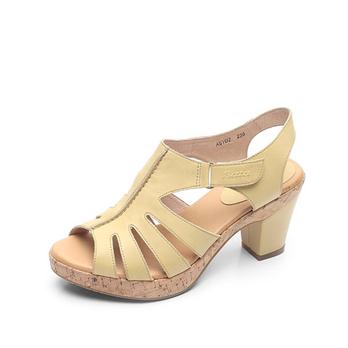 bata/拔佳2012年夏季新款黄绿打蜡牛皮女凉鞋