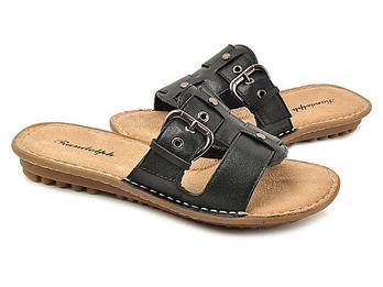 舒适牛皮金属扣带装饰时尚凉拖鞋