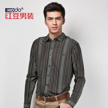 红豆男装 初夏款男士丝光棉衬衫领长袖t恤