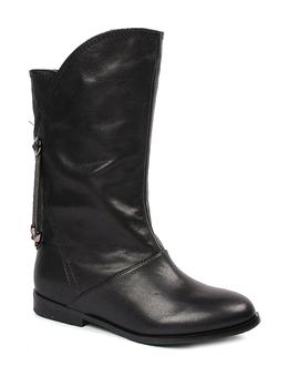 tata/他她冬季黑色小牛皮女皮靴fyu66d(皮里)