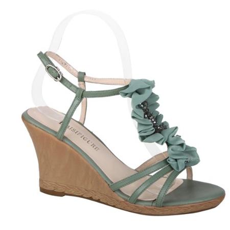 羊皮搭配串珠花边搭扣罗马女凉鞋