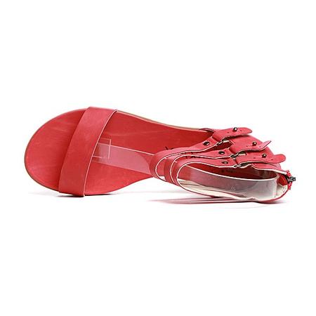 罗马式搭扣平底女凉鞋