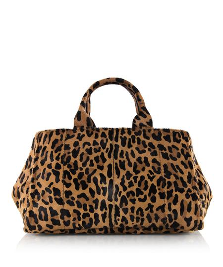 豹纹马毛品牌金属logo手提包