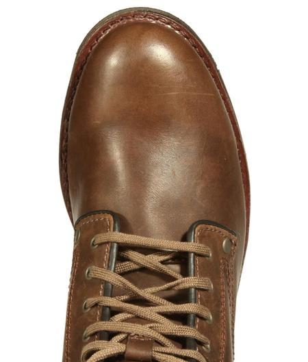 cat卡特巧克力色牛皮男士休闲低靴