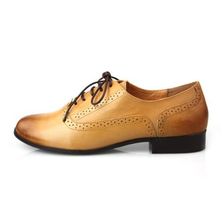 bu女单鞋 中性镂空平底系带真皮女鞋