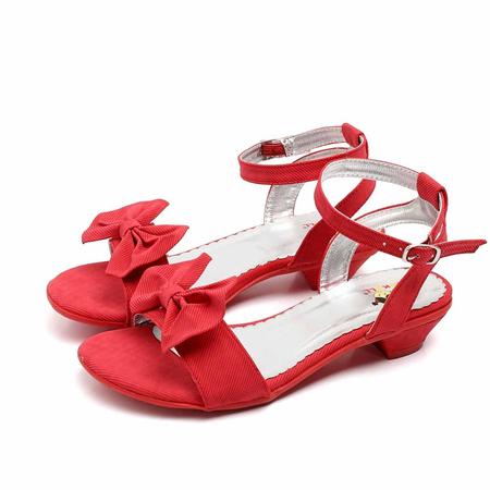 红色蝴蝶结糖果女童时尚凉鞋