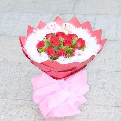 11支红玫瑰花束 小熊2只四选一