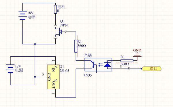 用光耦驱动mos管,控制电机的时候,mos管持续导通是什么原因(附电路图)