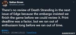 英国杂志不愿给《死亡搁浅》评分 因没有通关的热情