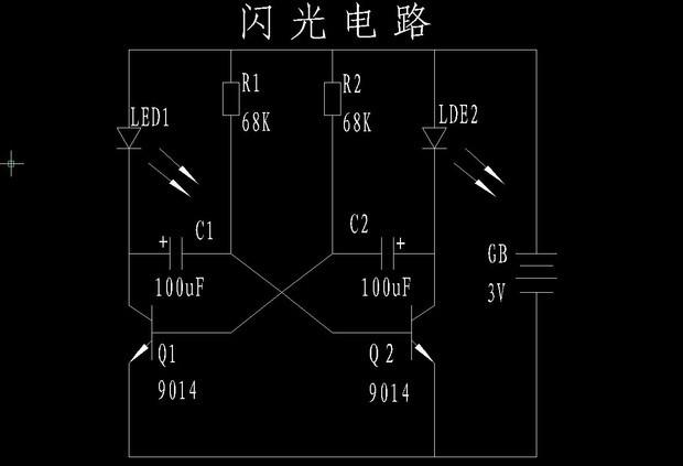 这是分立元件搭建的多谐振荡电路。由于元件的不一致性,电路接通时定会出现一个三极管饱和导通另一三极管关断的情况。假定接通电源瞬间Q1饱和导通Q2关断,这时Q1基极由R2得到电流时Q1饱和导通而集电极为低电平(若忽略管压降可认为是0伏)C1正极也是低电平,由于电容器两端的电压不能突变(这是电容特性所决定的),故C1负极,也就是Q2基极为低电平,这就是Q2关断的原因。这时C1充电,电流经电源正极R1C1Q1到电源负极,充电过程使C1反向充电,当电压充到一定程度时(约0.