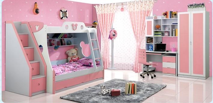 【火图腾儿童家具套房公主床双层床上下床高低床子母