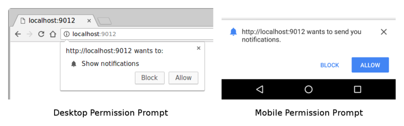 Permission Prompt on Desktop and Mobile Chrome.