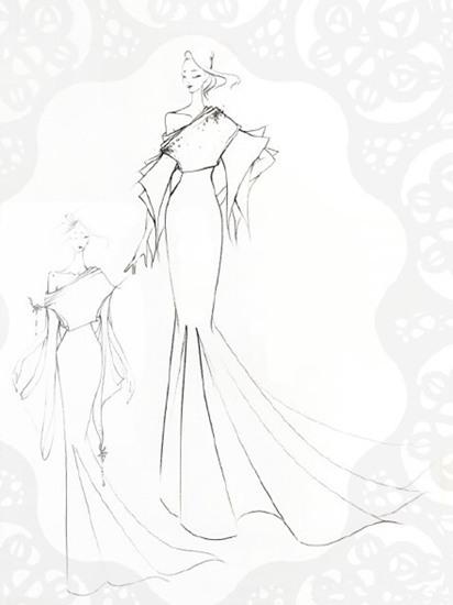 手绘婚纱设计图鱼尾_手绘婚纱设计图鱼尾分享展示