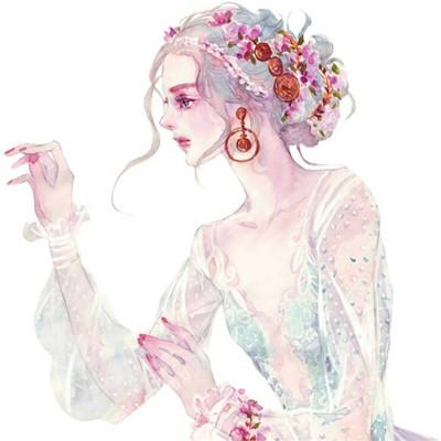 意境唯美美女微信素描头像