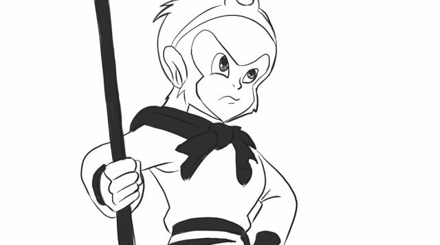 [小林简笔画]绘画西游记动画片中的美猴王猴哥通形象