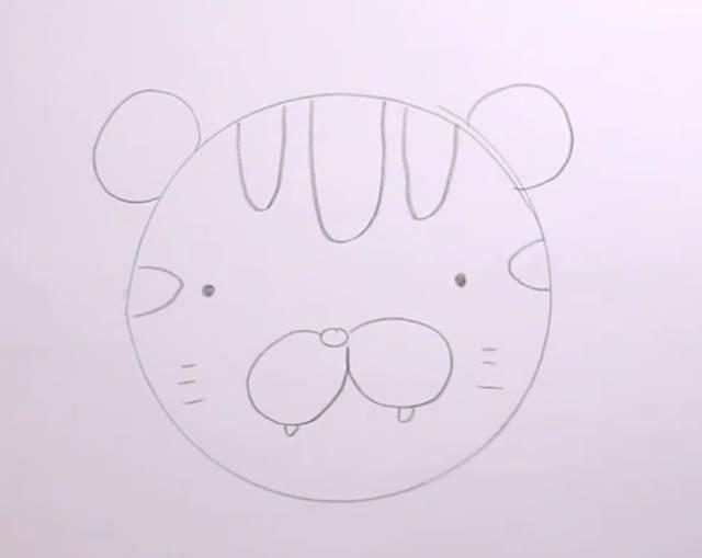 步骤 第一步 在工具的帮助下 画一个大圆作为小老虎的脑袋 在两侧画