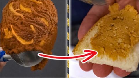 老外有趣实验,冰淇淋中挑出花生酱,网友:味道吃起来怎么样?