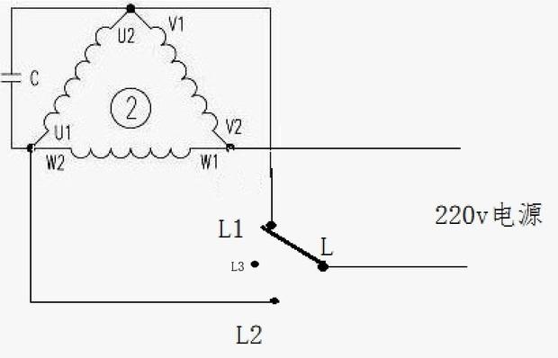 如果你的两相(实际上应是单相)电机原来正反转都正常。那么请你参考下面图片来说明:电机正转正常,说明绕组及电容没问题。问题应出在转换开关上(假设开关L接到L1为正转,则转接到L2就为反转)。开关转接到L2反转时开关与L2接触不上,电机就不能反转。这一思路供你检修参考。