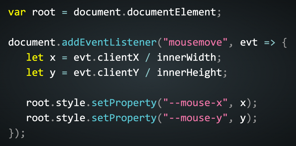 Example of getting the mouse position into your CSS
