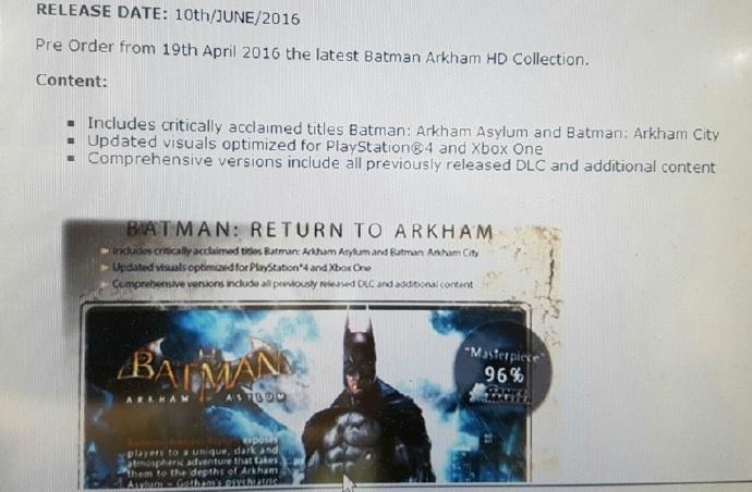 蝙蝠侠重制版《重返阿卡姆》泄露