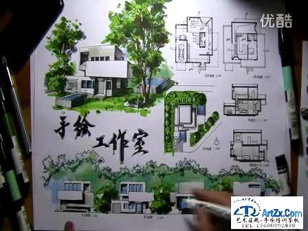 厦门大学考研建筑学考研快题设计---手手绘工作室快题表现3