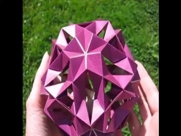 折纸大全 手工制作大全 折纸 3d花球折法视频教程 可做储蓄罐