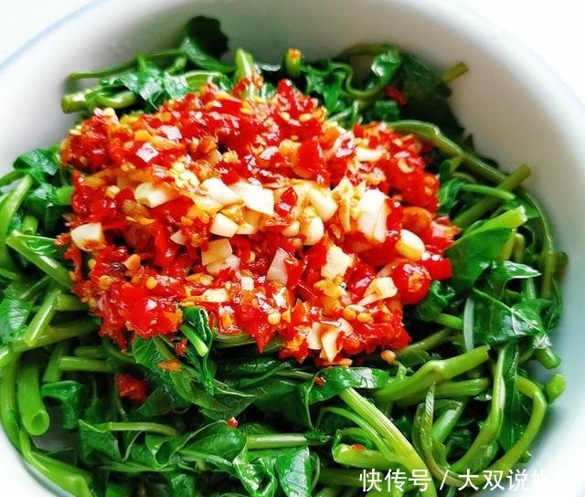 蒜蓉剁椒空心菜,清爽好吃下饭,简单一拌就搞定