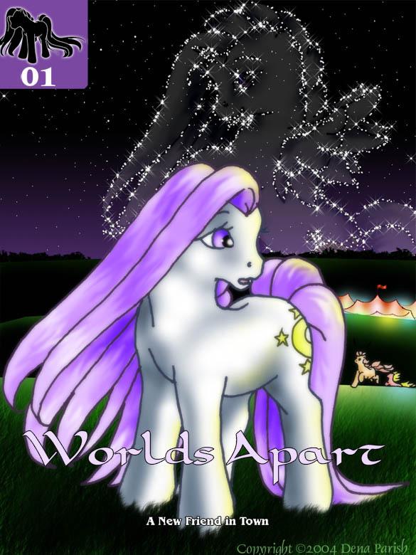 普通小马:紫色的头发,白色的身体,标志是四颗黄色星星围在一轮新月图片
