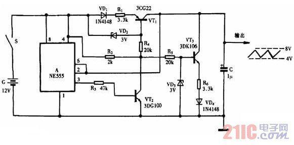 用发光二极管连接后有电流声,能给个三角波(手机干扰器)的电路图吗?