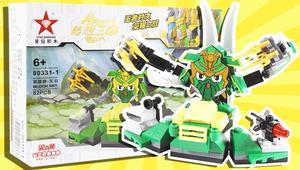 梦想三国积木版 关羽英雄牌 星钻积木 变形战将 拼装玩具