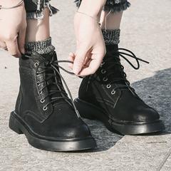 2018新款,原宿风平底马丁靴,英伦风复古短靴