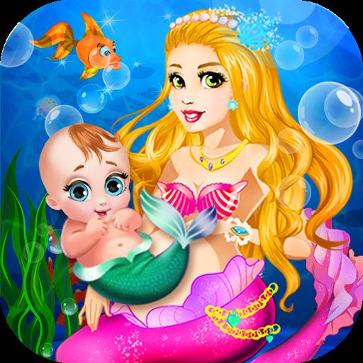 美人鱼妈妈和新生宝贝