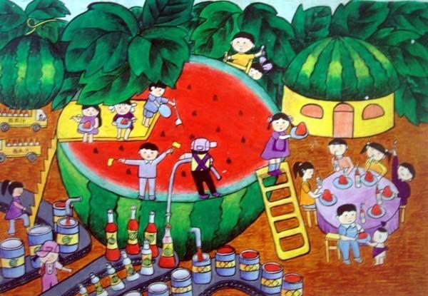 美人鱼,儿童画 科学幻想绘画:海底果园科幻画 儿童科幻