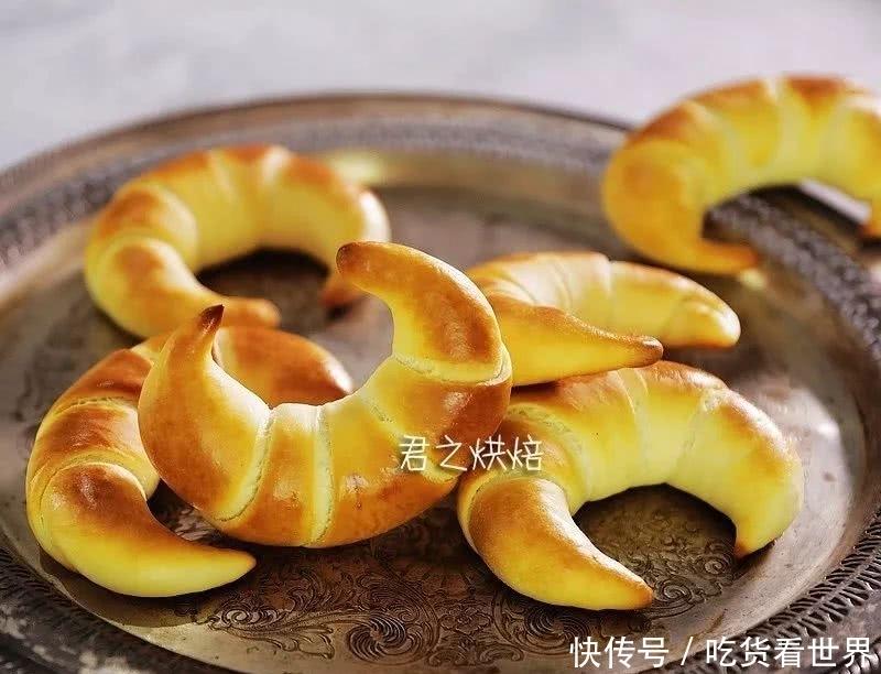好看好吃的金牛角软面包