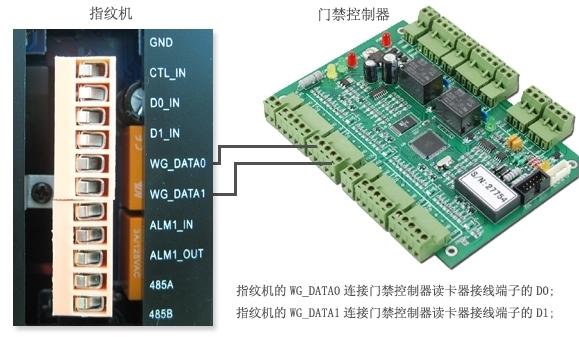 指纹机如何连接门禁控制器,实现指纹门禁/考勤管理系统 WG系列门禁控制器可以对接wiegand26国际标准输出格式的指纹识别设备,轻松构建安全,可靠的指纹门禁/指纹考勤管理系统。 指纹机+门禁控制器接线方式: 指纹机(F20或F21)的WG_DATA0数据线端子直接连接WG门禁控制器读卡器的接线端子的D0处; 指纹机(F20或F21)的WG_DATA1数据线端子直接连接WG门禁控制器读卡器的接线端子的D1处; 注:如指纹机没有单独配备电源,指纹机必须从门禁控制器电源上取电,则不要从门禁控制器上的读卡器接线