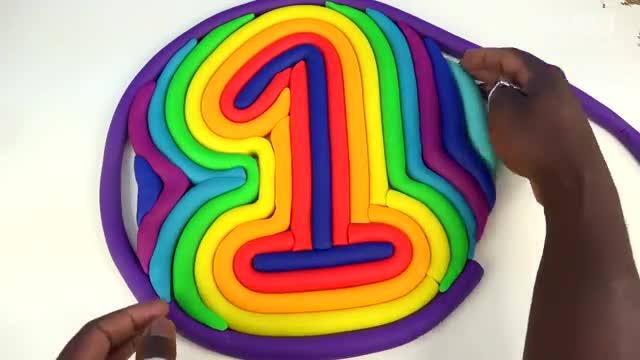 彩泥粘土diy手工制作巨大数字与小动物形状-儿童益智玩具 亲子玩具.
