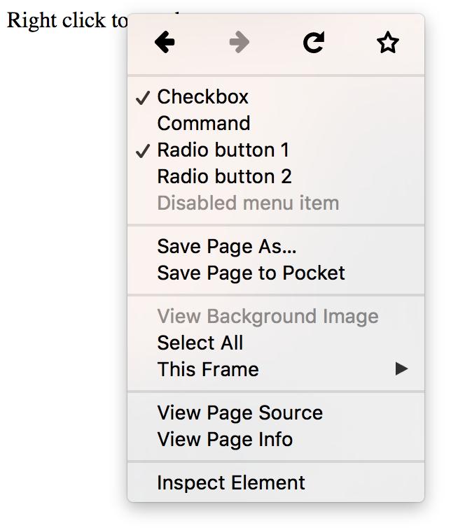 A HTML 5.1 context menu
