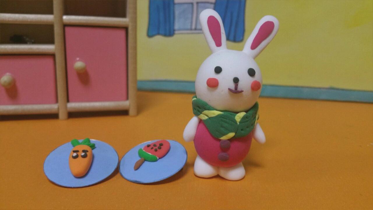 芭比娃娃超轻粘土手工制作卡通兔子
