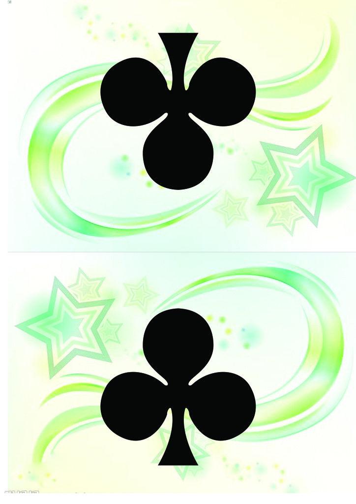 扑克牌中的梅花(club)代表幸运,扑克的其他三种花色红桃(heart),黑
