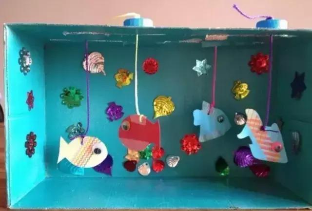 创意海底世界 准备材料:纸箱,染料,卡纸,线